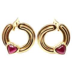 Bulgari Pink Tourmaline Yellow Gold Heart Earrings