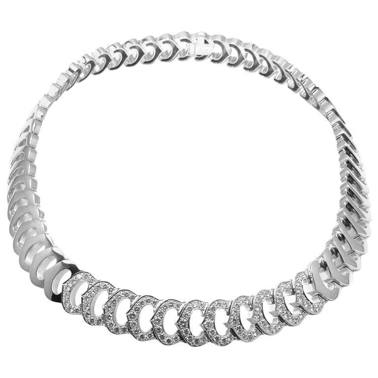 Cartier c de cartier white gold diamond necklace at 1stdibs cartier c de cartier white gold diamond necklace mozeypictures Image collections
