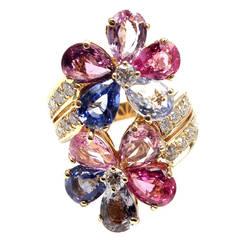 Bulgari Fancy Sapphire Diamond Gold Flower Cocktail Ring