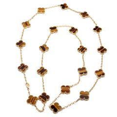Van Cleef & Arpels Vintage Alhambra 20 Motif Tiger's Eye Gold Necklace