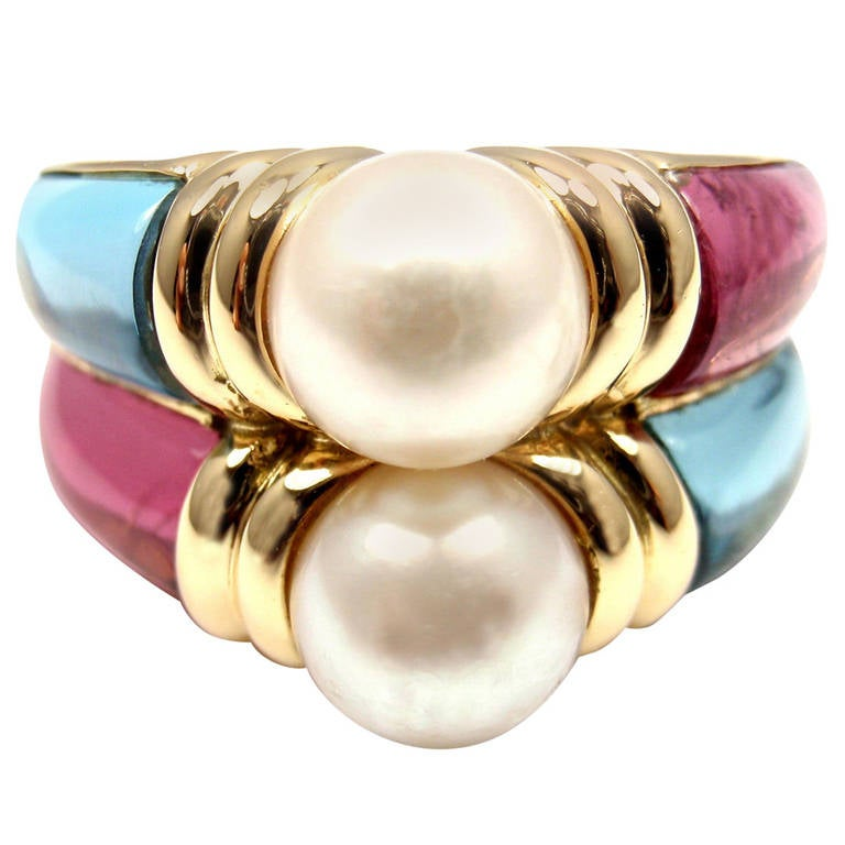Bulgari Blue Topaz Amethyst Pearl Yellow Gold Ring