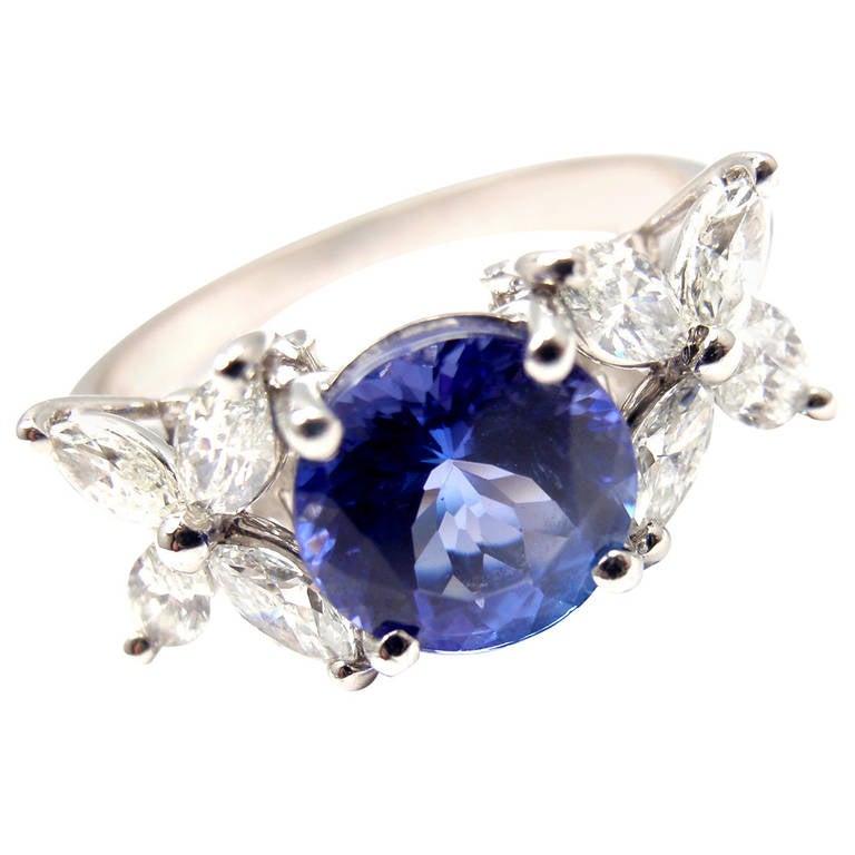 and co tanzanite platinum ring