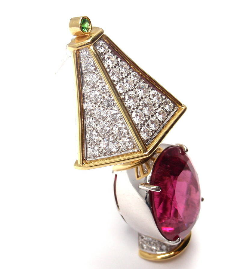 Tiffany & Co. Rubellite Tsavorite Diamond Yellow Gold Platinum Lamp Pin Brooch 3