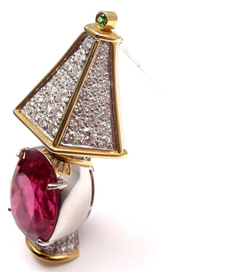 Tiffany & Co. Rubellite Tsavorite Diamond Yellow Gold Platinum Lamp Pin Brooch 4