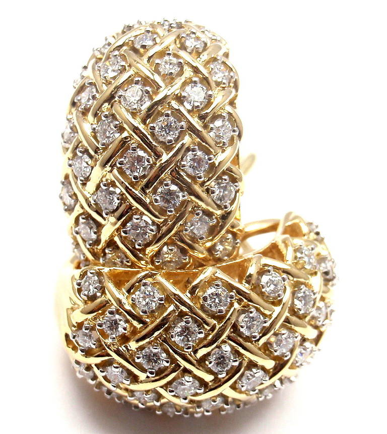 Tiffany and Co. Basket Weave Diamond Yellow Gold Hoop Earrings at ...