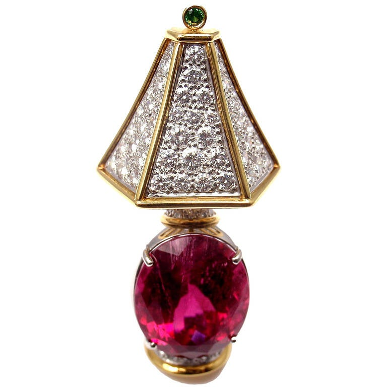 Tiffany & Co. Rubellite Tsavorite Diamond Yellow Gold Platinum Lamp Pin Brooch 1