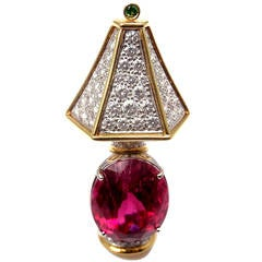 Tiffany & Co. Rubellite Tsavorite Diamond Yellow Gold Platinum Lamp Pin Brooch