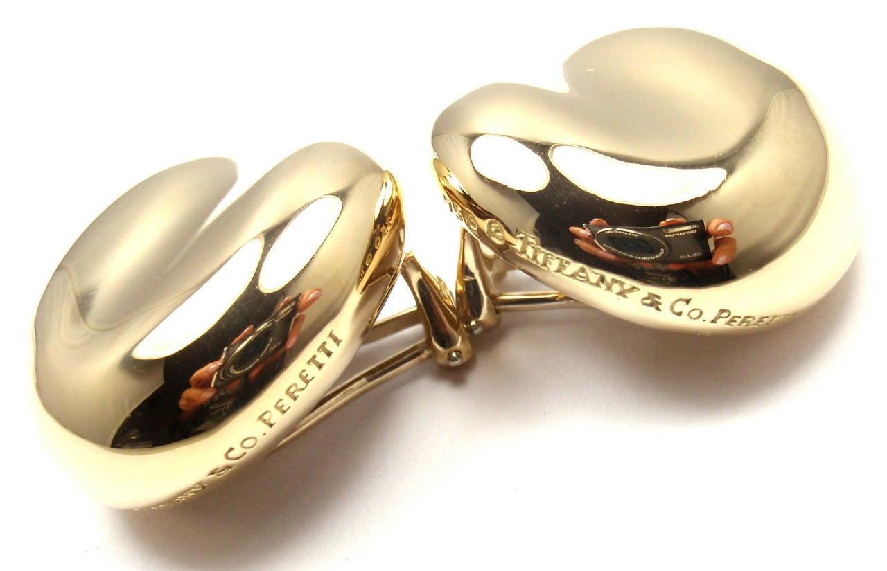 Tiffany & Co Elsa Peretti Large Gold Bean Earrings 3