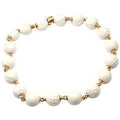Bulgari Chandra White Porcelain Bead Gold Necklace