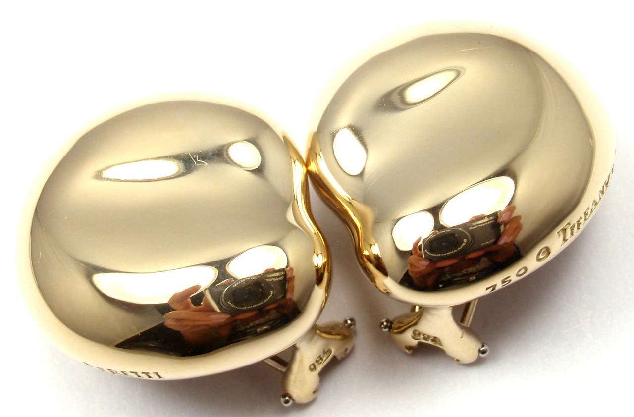 Tiffany & Co Elsa Peretti Large Gold Bean Earrings 2