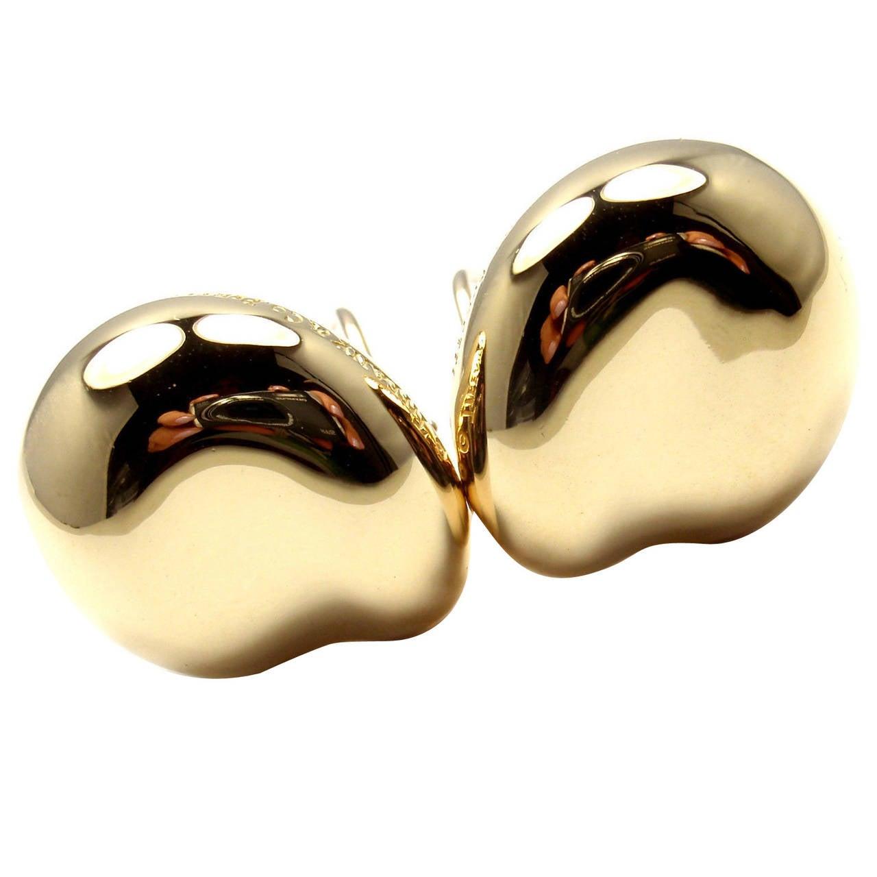 Tiffany & Co Elsa Peretti Large Gold Bean Earrings 1