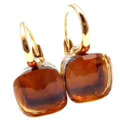Pomellato Nudo Madeira Quartz Two Color Gold Earrings