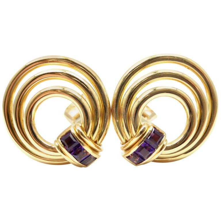 Bulgari Amethyst Yellow Gold Earrings