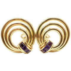 Bulgari Amethyst Yellow Gold Earrings