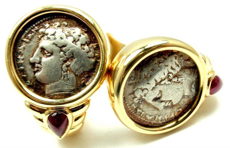 bulgari cabochon ruby ancient roman coin yellow gold earrings 2