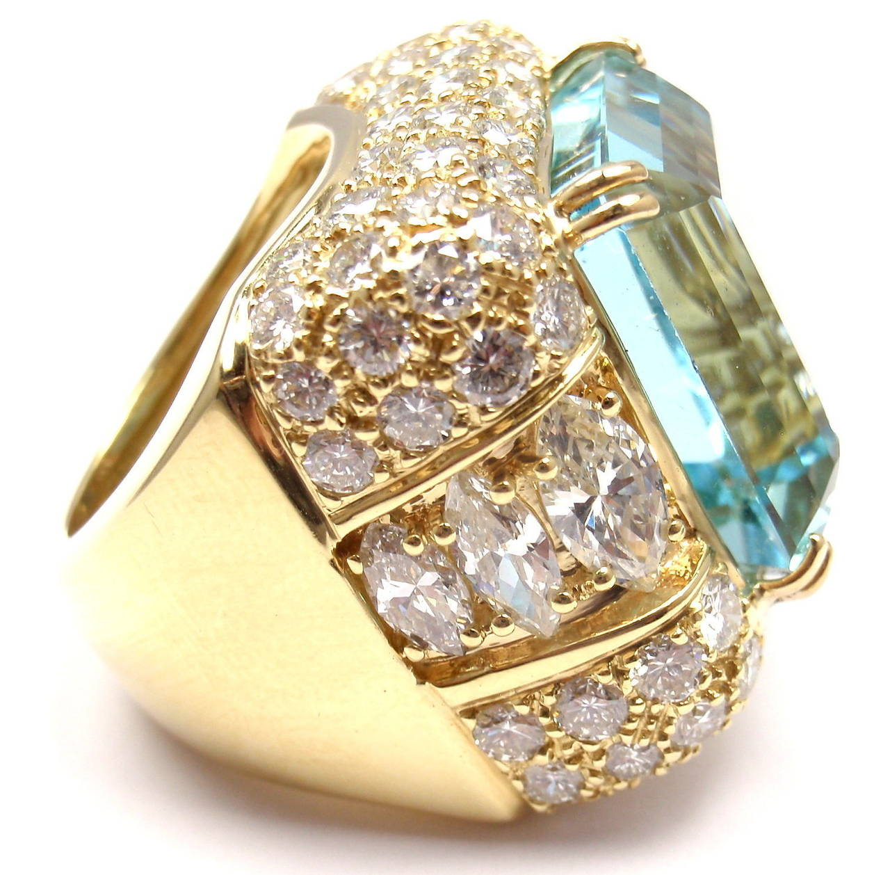 18k Yellow Gold Diamond Large Aquamarine Ring by Hammerman Brothers.