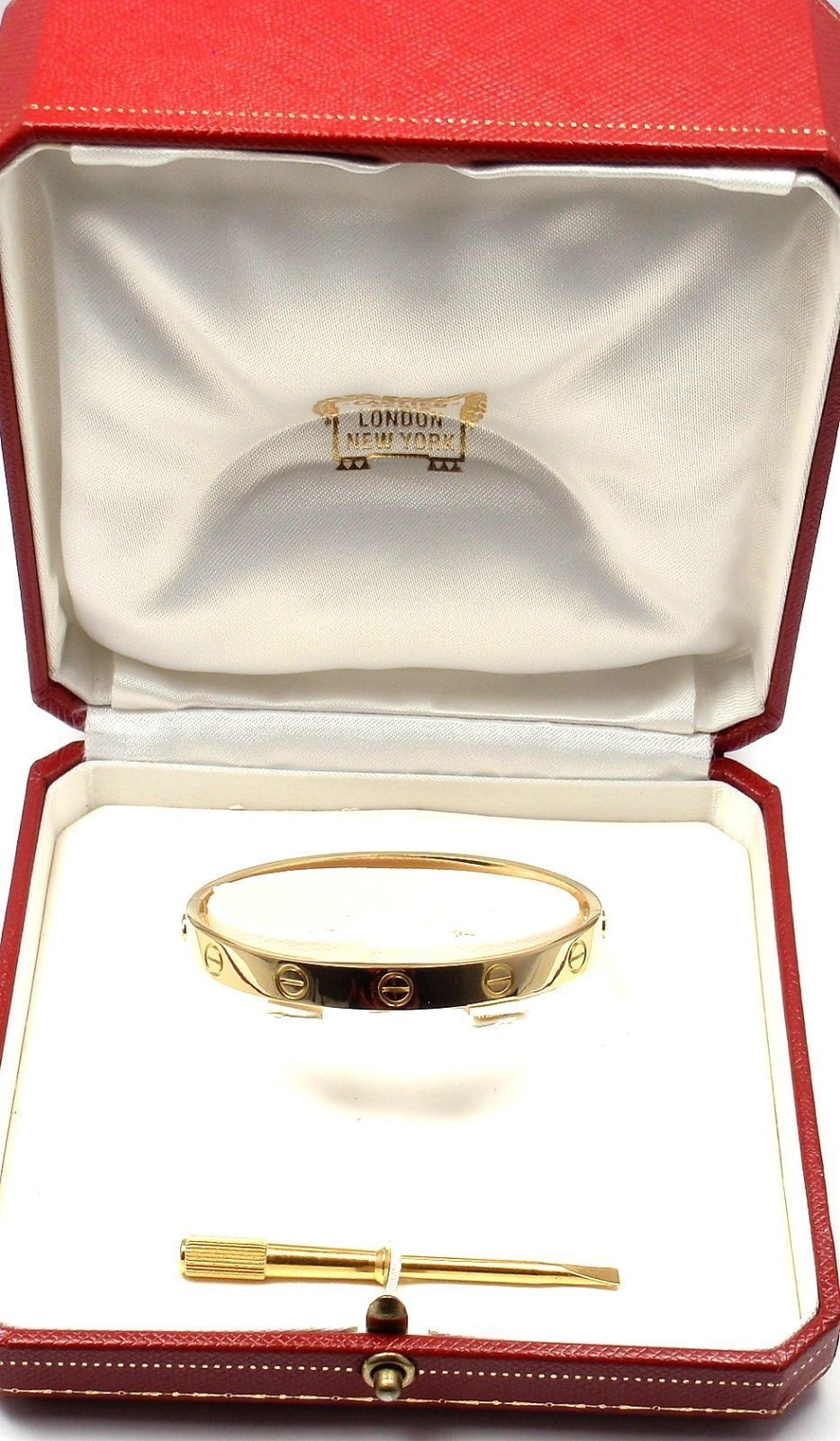 18k Yellow Gold Love Bangle Bracelet By Cartier Size 18 This Beautiful