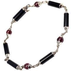 Cartier Le Baiser Du Dragon Onyx Ruby Gold Link Bracelet