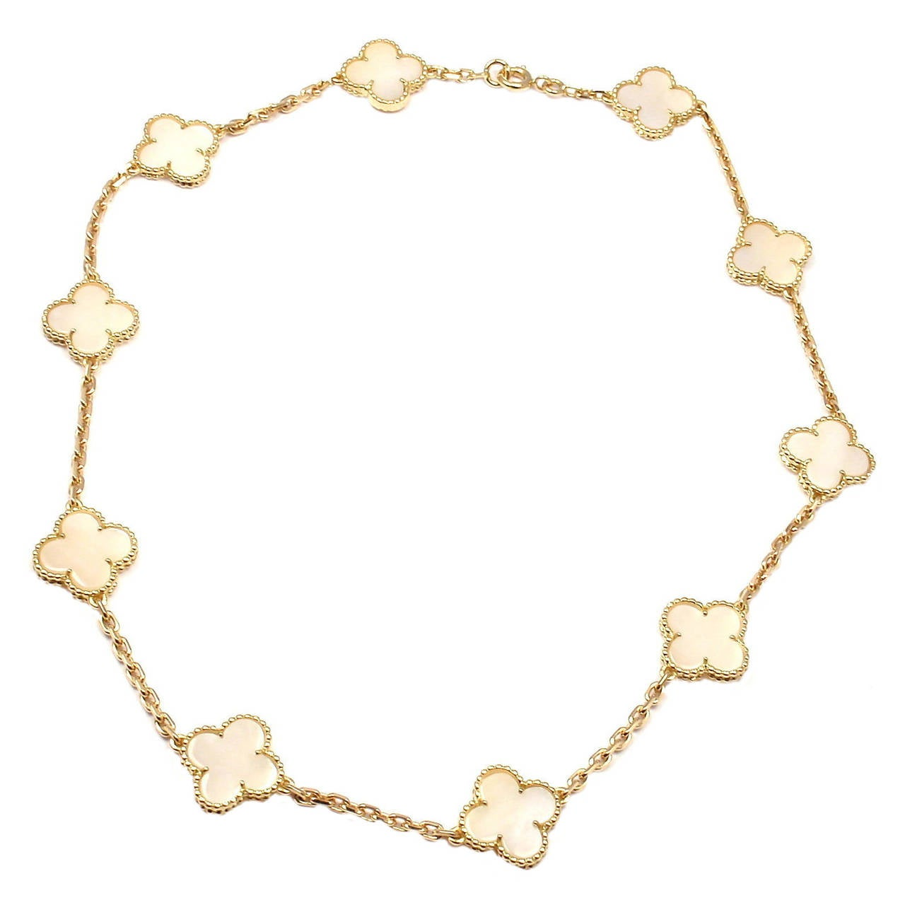 Van Cleef & Arpels Mother Of Pearl Vintage Alhambra Yellow Gold Necklace 1