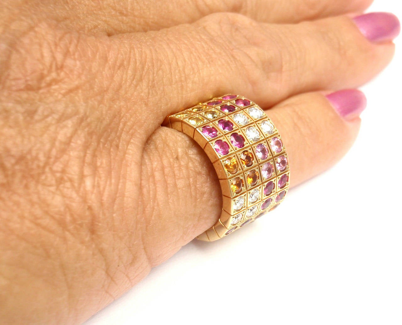 Cartier Lanieres Diamond Multicolor Sapphire Yellow Gold Wide Band Ring 5