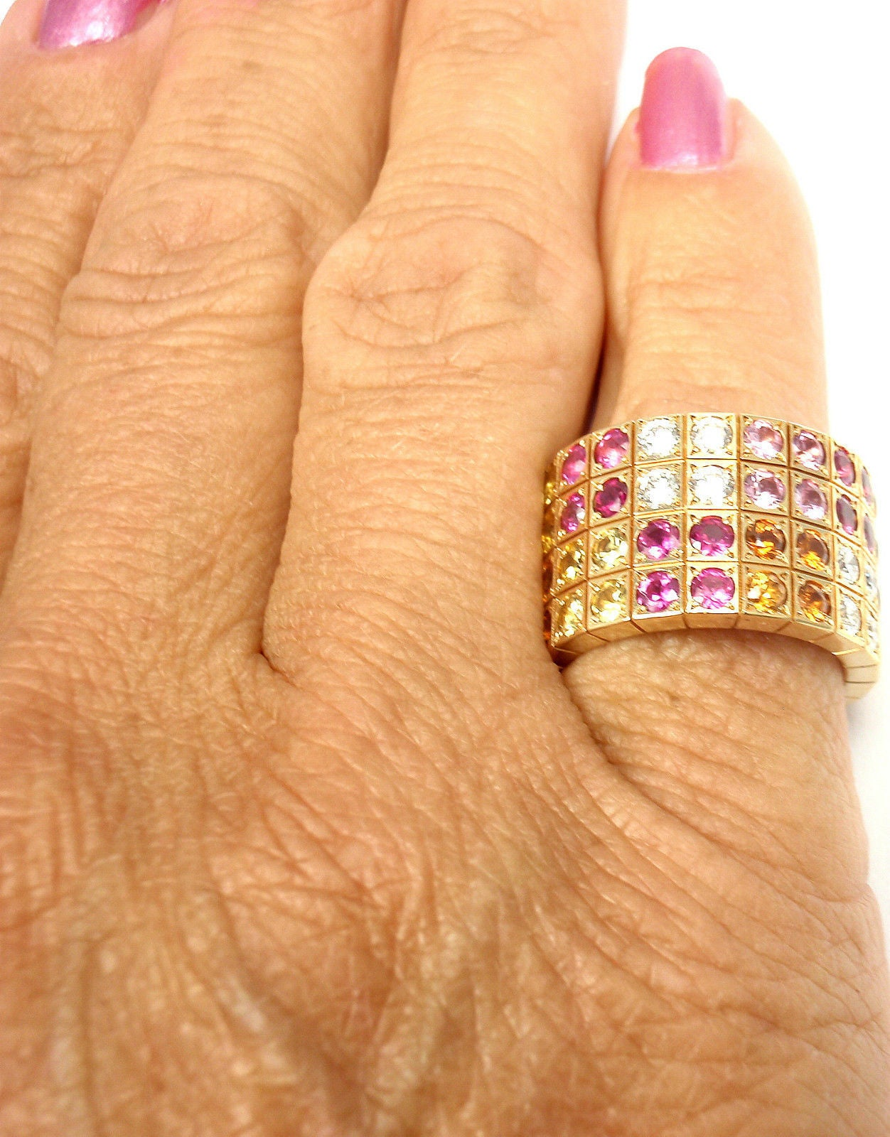 Cartier Lanieres Diamond Multicolor Sapphire Yellow Gold Wide Band Ring 8