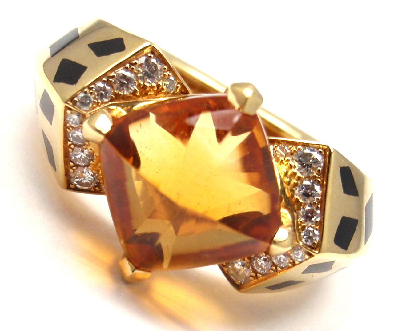 18k Yellow Gold Diamond, Citrine and Black Lacquer Ring by Cartier.  With 1 citrine stone 11mm x 11mm and  20 round brilliant cut diamonds VS1 clarity E color total weight approx. .50ct This ring comes with an original Cartier