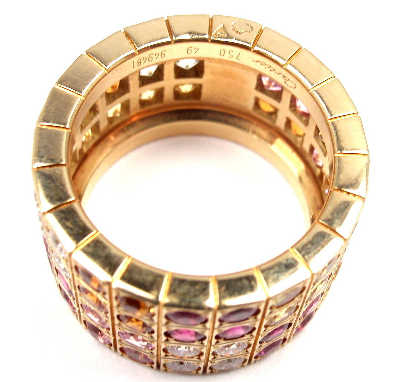 Cartier Lanieres Diamond Multicolor Sapphire Yellow Gold Wide Band Ring 7