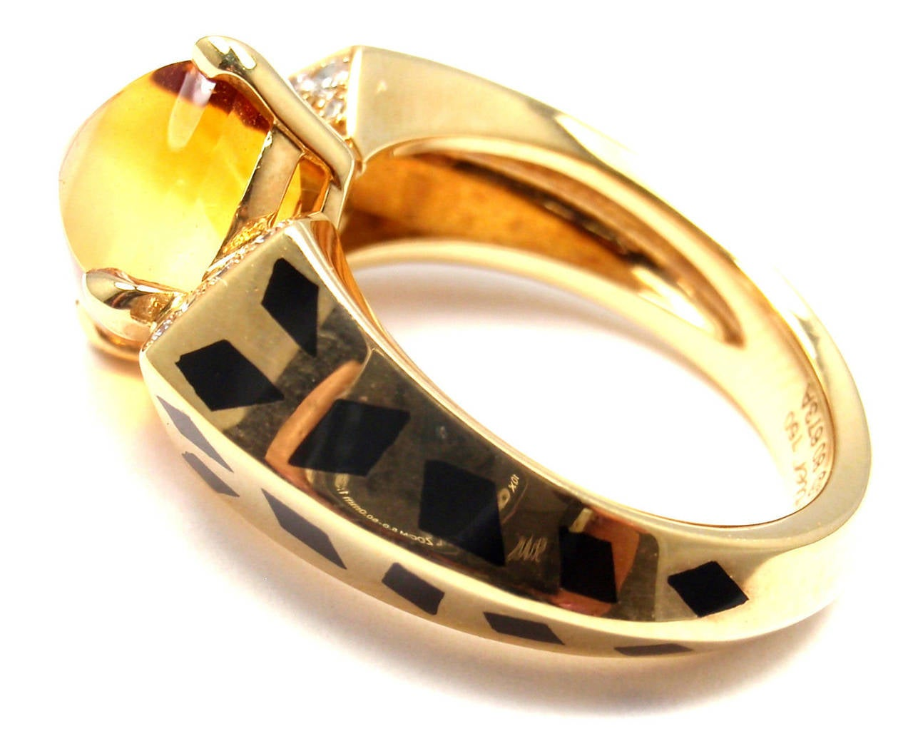 Women's Cartier Panthere Black Lacquer Spot Citrine Diamond Gold Ring For Sale