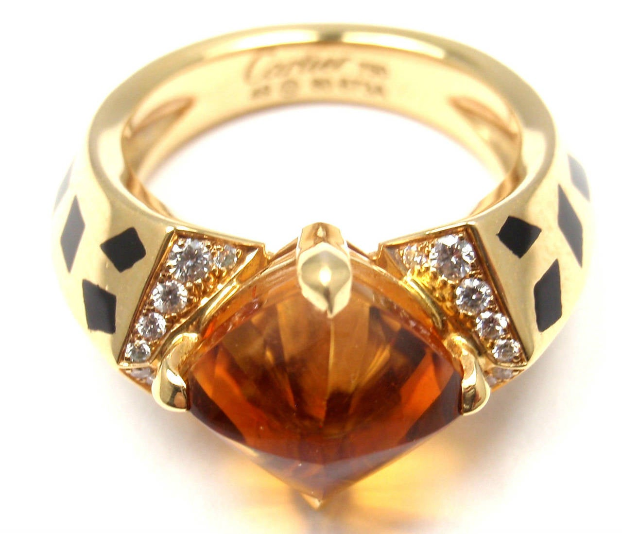 Cartier Panthere Black Lacquer Spot Citrine Diamond Gold Ring For Sale 1