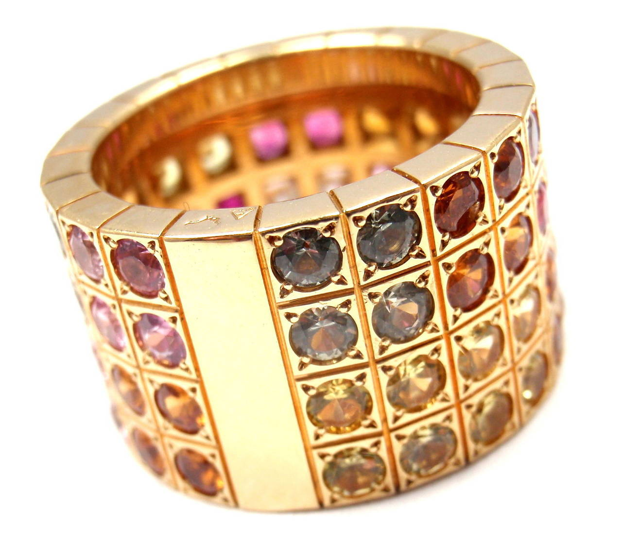 Cartier Lanieres Diamond Multicolor Sapphire Yellow Gold Wide Band Ring 4