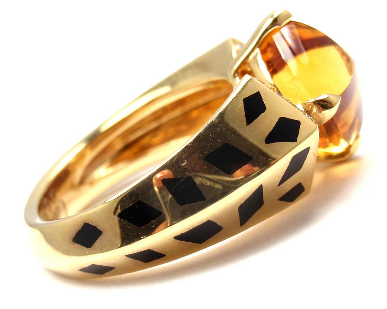 Cartier Panthere Black Lacquer Spot Citrine Diamond Gold Ring In As new Condition For Sale In Southampton, PA