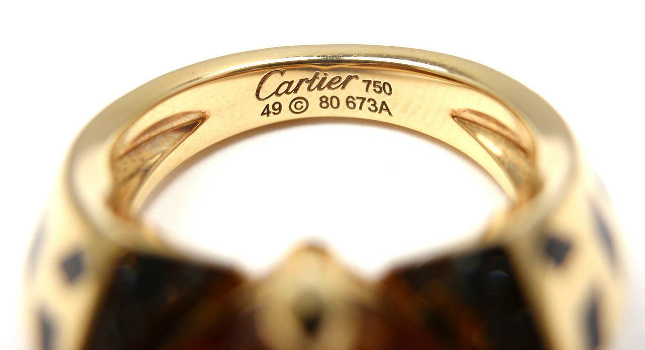 Cartier Panthere Black Lacquer Spot Citrine Diamond Gold Ring For Sale 2