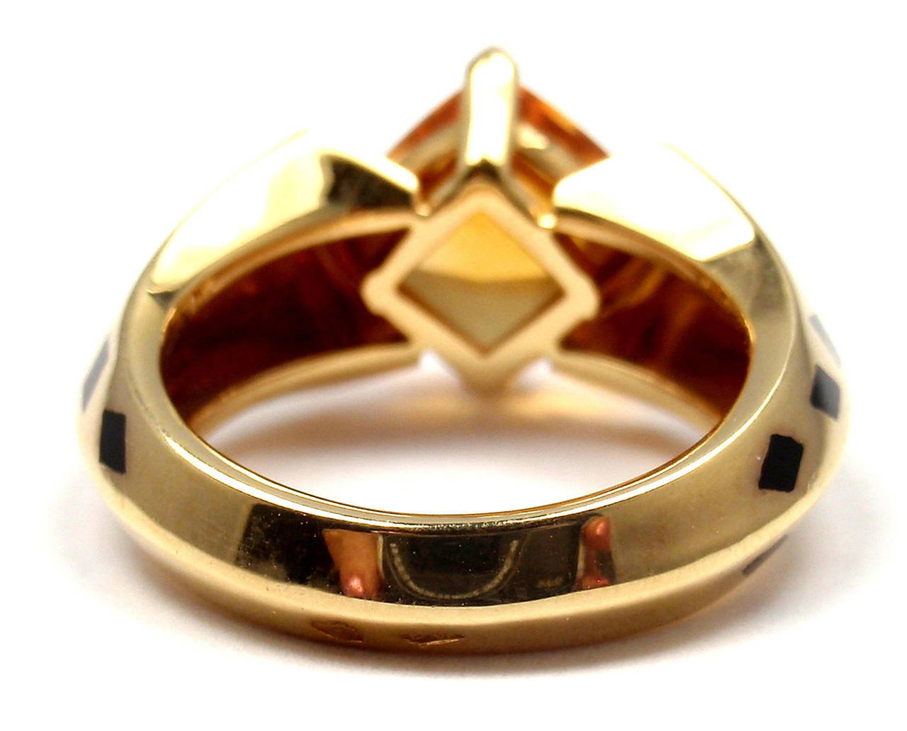 Cartier Panthere Black Lacquer Spot Citrine Diamond Gold Ring For Sale 3
