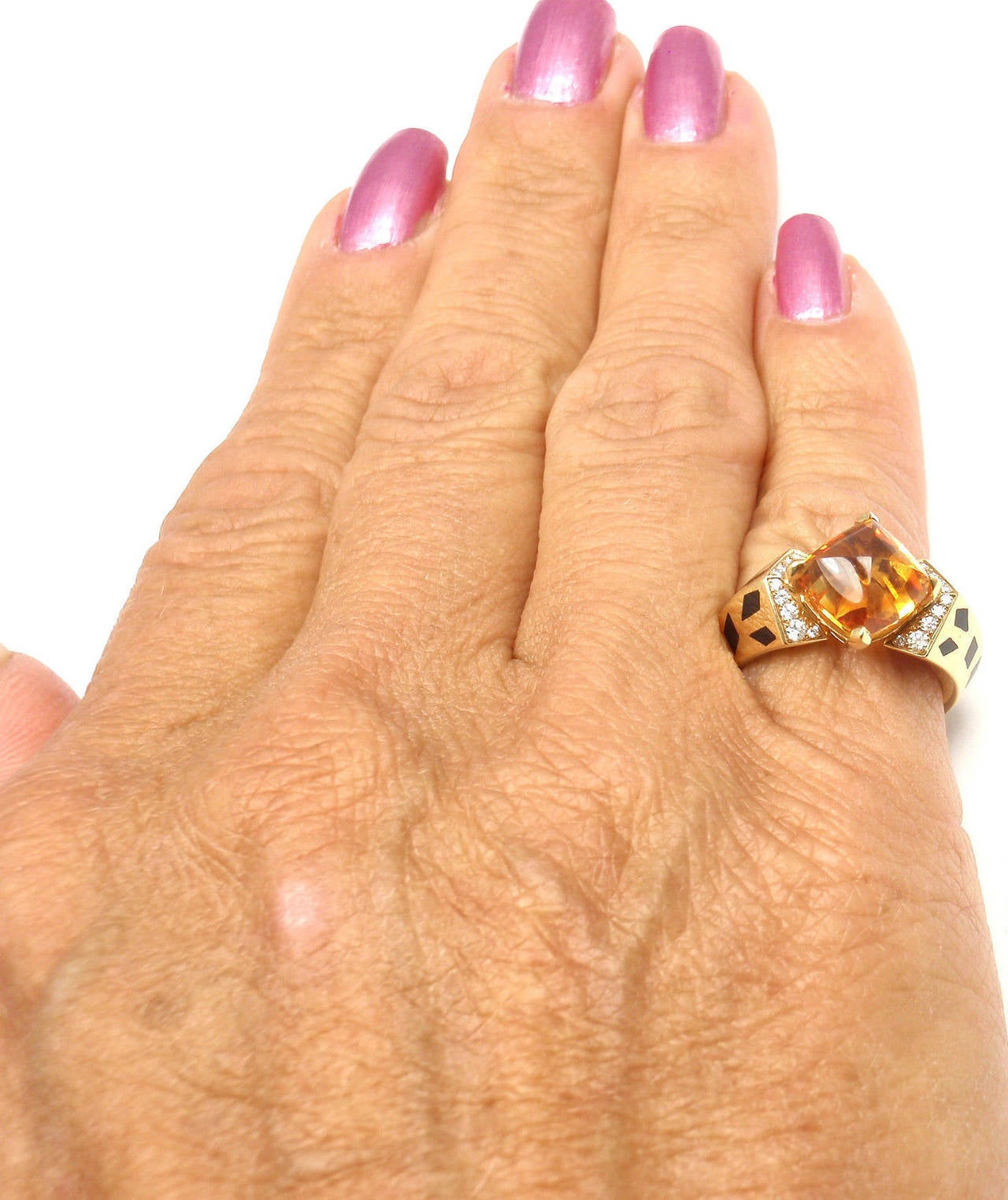 Cartier Panthere Black Lacquer Spot Citrine Diamond Gold Ring For Sale 4