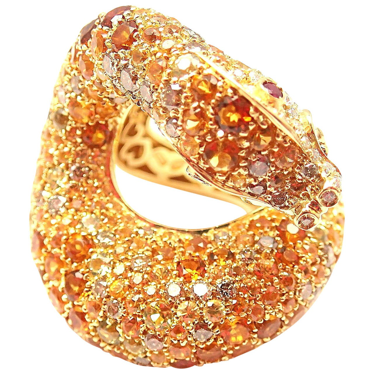 Pasquale Bruni Il Peccato Large Sapphire Ruby Diamond Gold Snake Ring