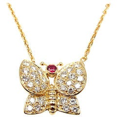 Van Cleef & Arpels Butterfly Ruby Diamond Gold Necklace