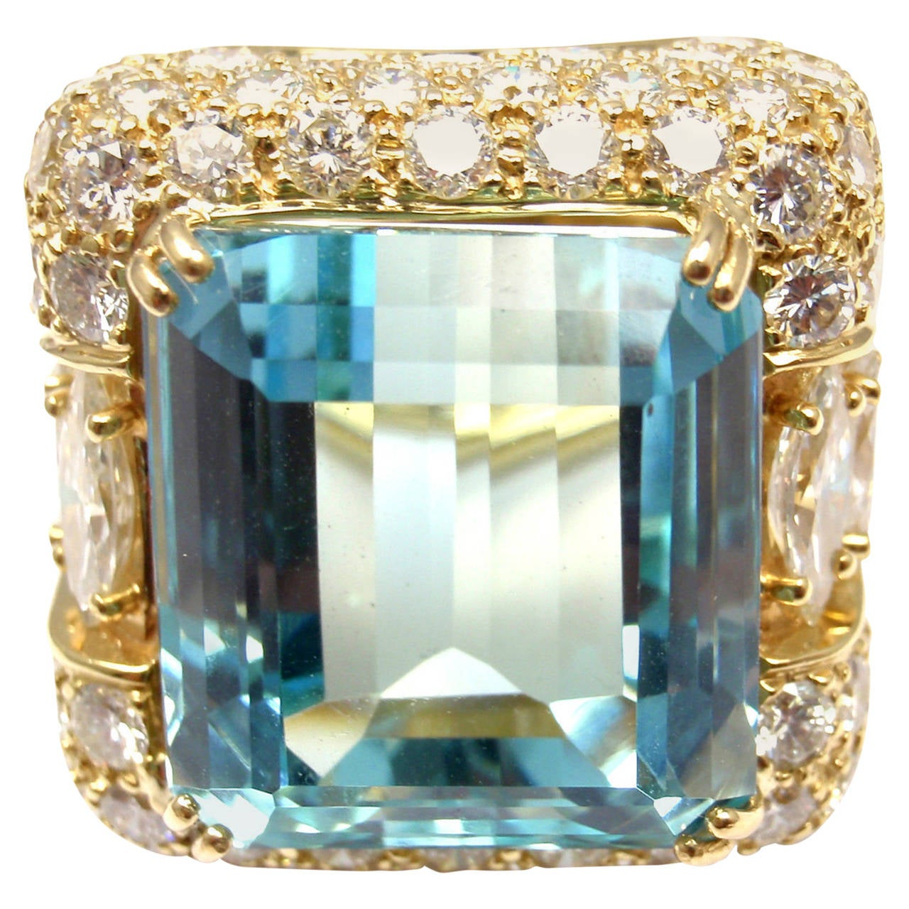 Hammerman Brothers Large 23.70 Carat Aquamarine Diamond Gold Ring