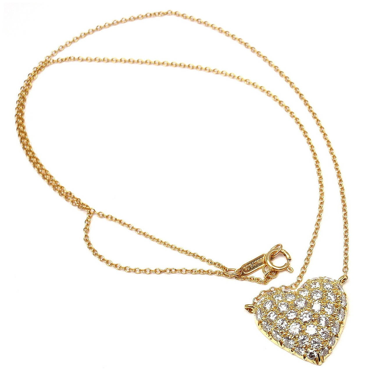 Tiffany and co pave diamond gold puffed heart pendant necklace at pave diamond gold puffed heart pendant necklace 1 mozeypictures Choice Image