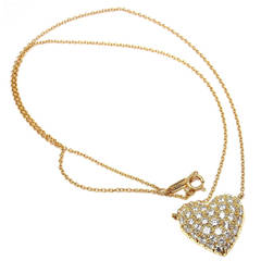 Tiffany & Co. Pave Diamond Gold Puffed Heart Pendant Necklace