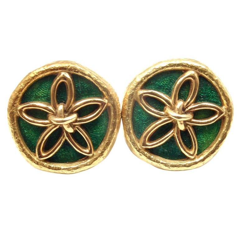 Tiffany & Co. Jean Schlumberger Green Enamel Yellow Gold Earrings