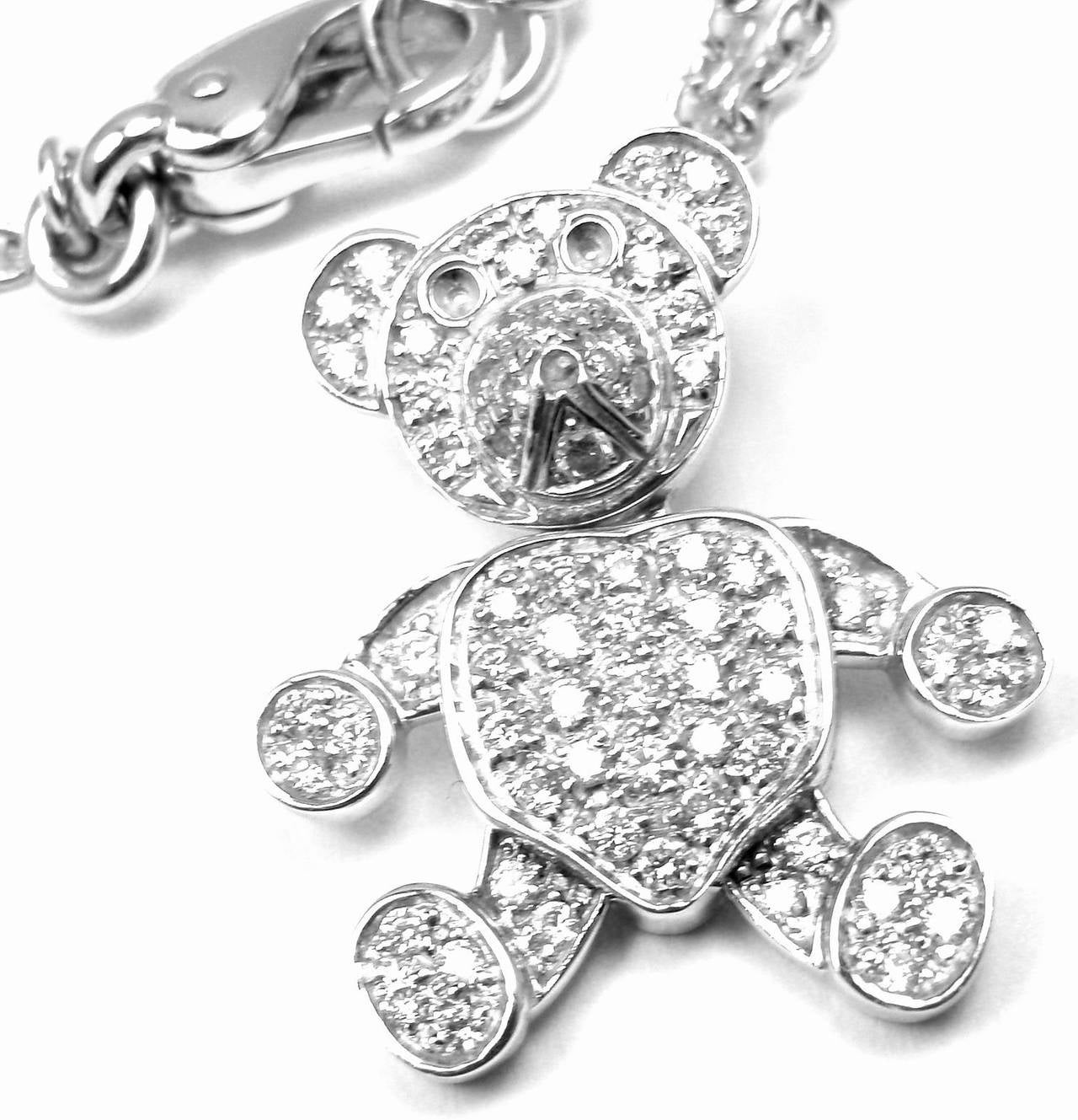 Pomellato Diamond Gold Teddy Bear Pendant Necklace 4