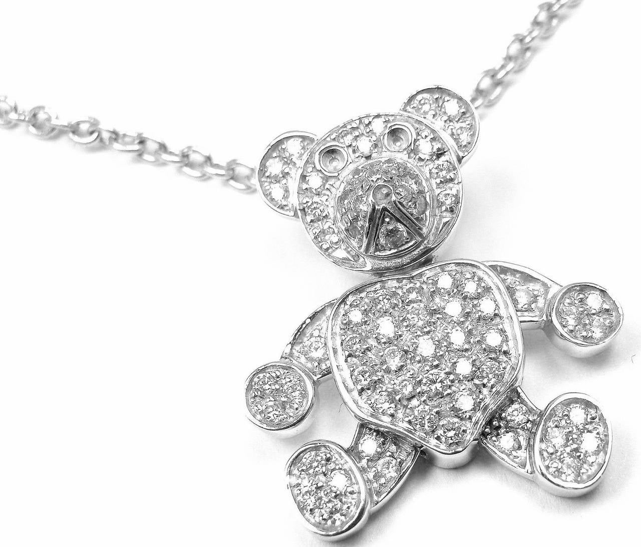 Pomellato Diamond Gold Teddy Bear Pendant Necklace 2