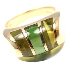Bulgari Green Tourmaline Peridot Yellow Gold Band Ring