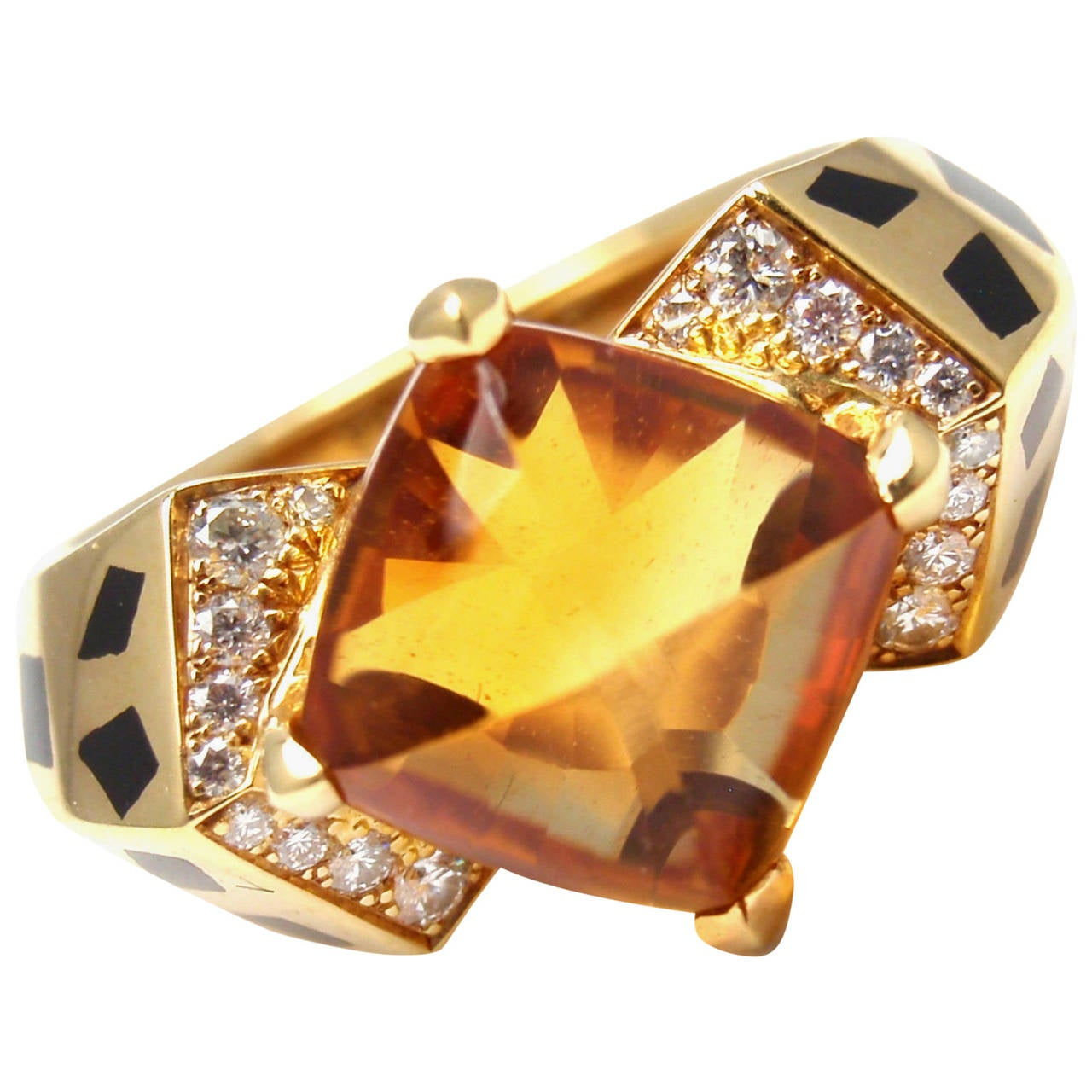 Cartier Panthere Black Lacquer Spot Citrine Diamond Gold Ring For Sale