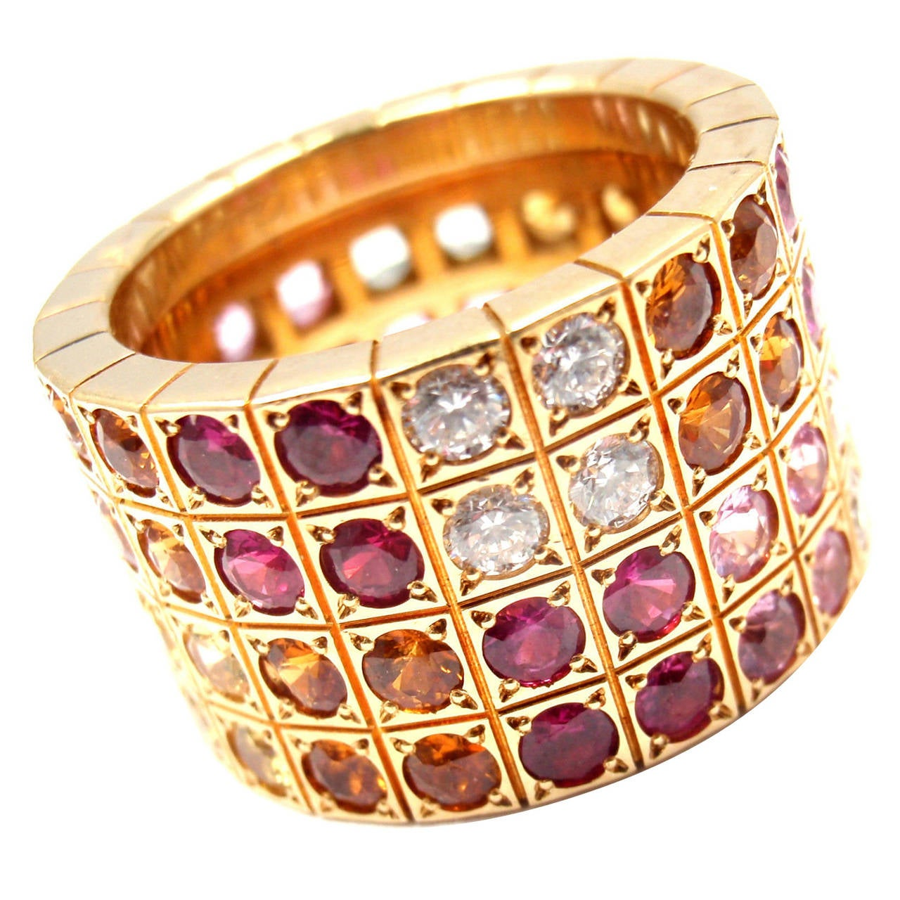 Cartier Lanieres Diamond Multicolor Sapphire Yellow Gold Wide Band Ring