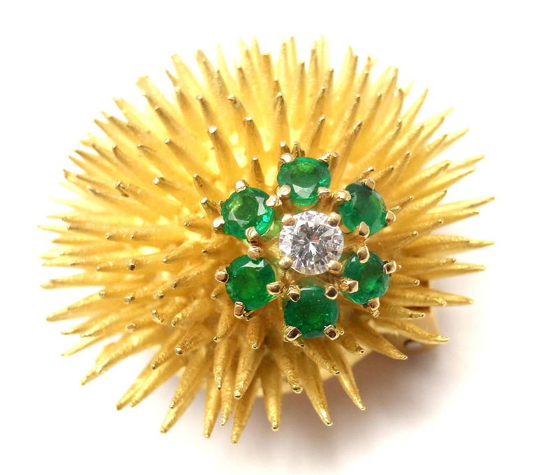 18k Yellow Gold Diamond Emerald Sea Urchin Pin Brooch by Tiffany & Co. 
