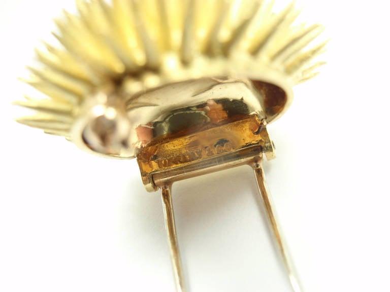 Tiffany & Co. Emerald Diamond Yellow Gold Sea Urchin Pin Brooch For Sale 2