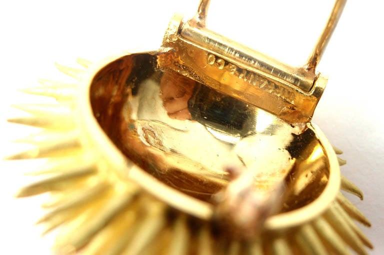 Tiffany & Co. Emerald Diamond Yellow Gold Sea Urchin Pin Brooch For Sale 3
