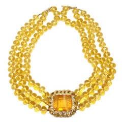 Renato Cipullo Carved Citrine Diamond Yellow Gold Necklace