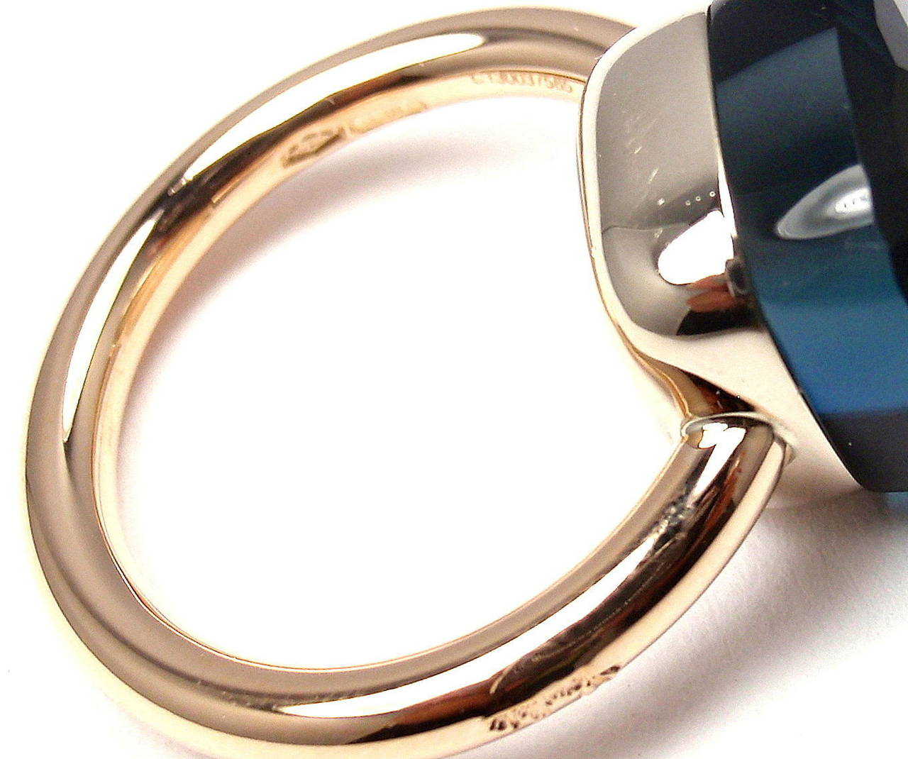 Pomellato Nudo Large London Blue Topaz Two Color Gold Cocktail Ring For Sale 1